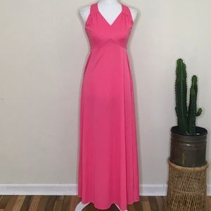 Vtg 60s 70s House of Bianchi Maxi Dress Hot Pink